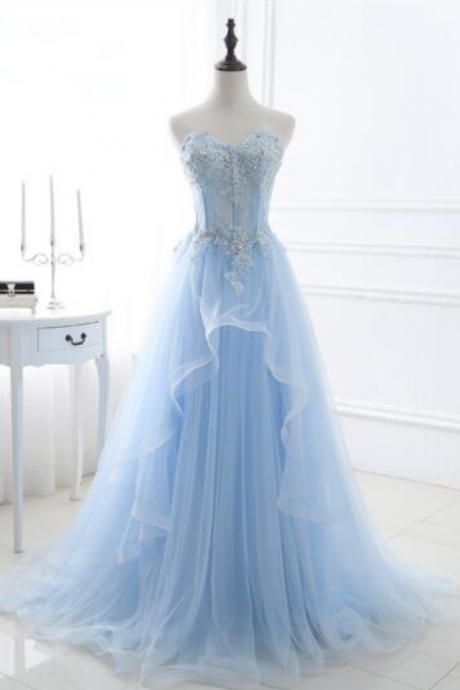 Elegant Light Blue Long Prom Dresses Sleeveless Tulle Beading Sweetheart Lace Up Back Bandage Women Promenade Dresses