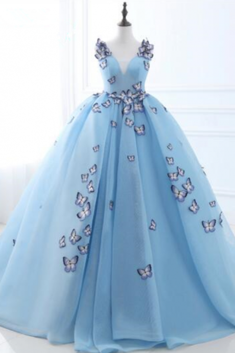 New arrival light blue ball gown prom dress without sleeves with v-neck cotton tulle with butterfly applique bandage big party gown