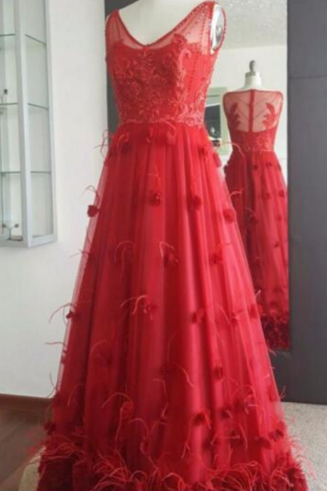 Beautiful V-Neck Floor-length Tulle Prom Dresses A-Line Tank Sexy Flowers And Feathers Prom Dresses See Through Clothes Conventional