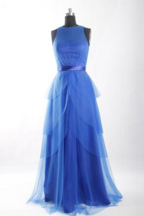 Blue sleeveless fashion women dress chiffon waist female prom dress new cocktail party dress