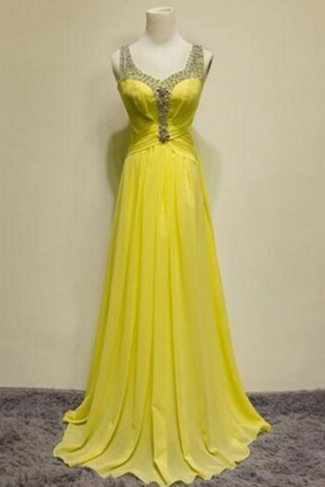 new yellow waist to drag the floor party dress beaded fashion evening dress evening dress