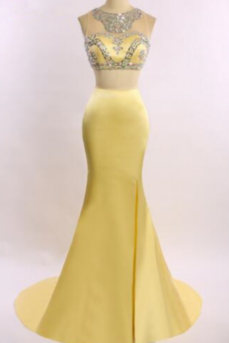 Yellow two-piece mermaid party dress fashion women dragging ball dress sexy string beaded umbilical cocktail party dress