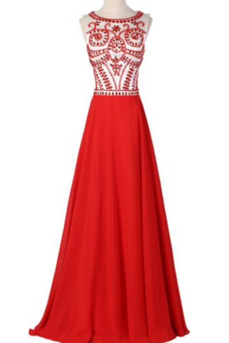 Red waist sleeveless maxi dress prom dresses beaded fashion mop cocktail dress