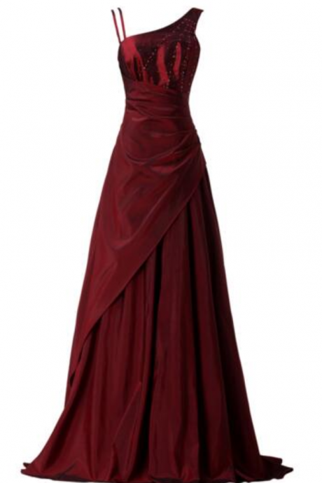 new fashion red asymmetrical dress pleated floor length evening gown prom dresses