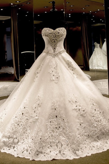 Ball Gown Sweetheart Tulle Cathedral Train with Appliques Lace Wedding Dresses