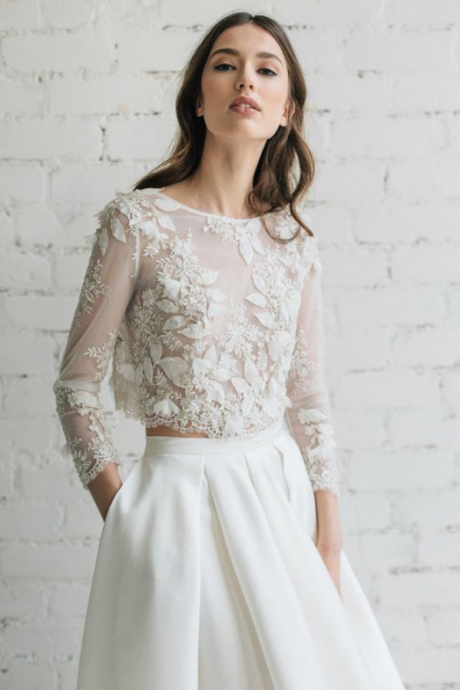 Wedding Top Bridal Lace Top Bridal Separates Top,two pieces prom dress