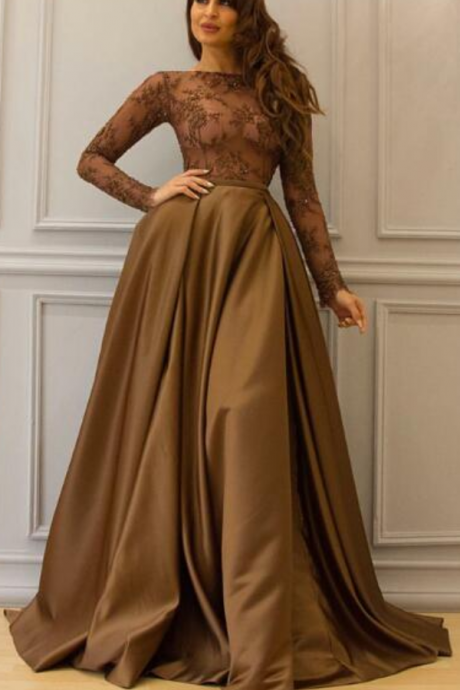Long Sleeve Brown Prom Dress, Saudi Arabic Prom Dress, Elegant Floor Length Cheap Lace Prom Dress, A-Line Prom Dress