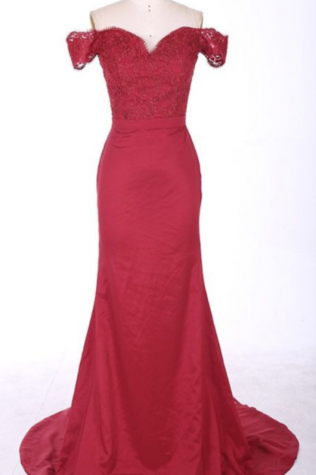 Mermaid Off-the-Shoulder Burgundy Evening Dresses,Lace Appliques Long Prom Dresses