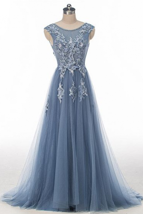 Lace Beaded Dusty Blue Scoop Neckline Evening Prom Dresses, Long Sexy Party Prom Dress, Custom Long Prom Dresses, Cheap Formal Prom Dresses
