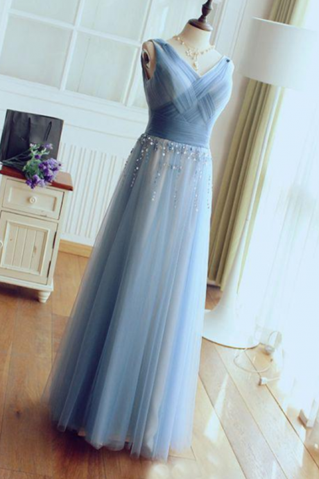 CHIC PROM DRESS A-LINE V-NECK BLUE TULLE CHEAP EVENING DRESS