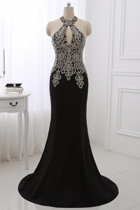 Black Formal Dress,Evening Dresses,Women Prom Party Gowns ,Gold Appliques Formal Dresses,Sexy Halter Mermaid Dress Sleeveless
