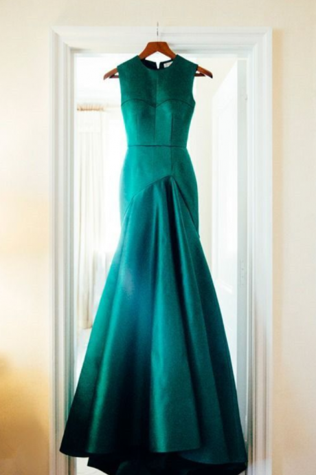 Charming Prom Dress,Mermaid Prom Dress,Satin Prom Dress,O-Neck Prom Dress