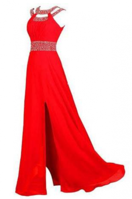 Beaded Bridesmaid Evening Party Prom Chiffon Gown Dress,Prom Dresses