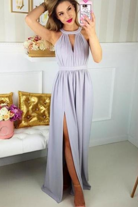 Charming Prom Dress, Sexy Prom Dress with Slit, Long Evening Dress, Chiffon Prom