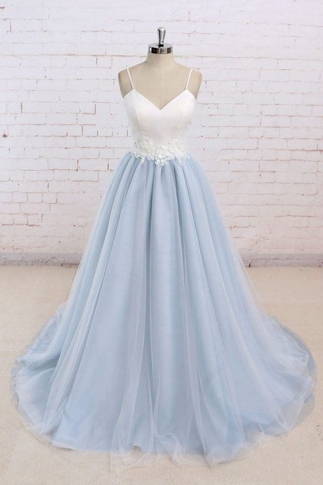 Simple blue tulle long prom dress, tulle wedding dress Prom Dress Prom Dress