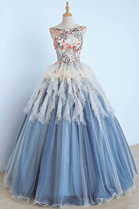 Unique round neck tulle long prom dress, gray blue sweet 16 dress
