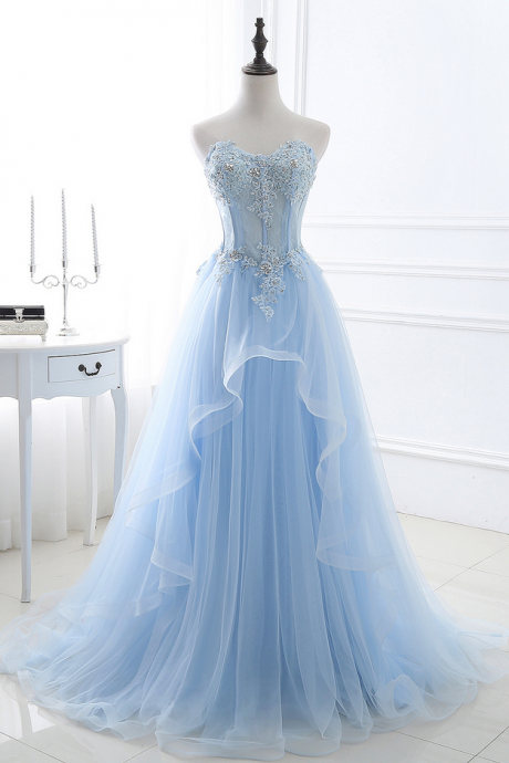 Babyonline Romantic Sky Blue Sweetheart Long Prom Dresses Beaded Lace Applique Formal Evening Dresses Party Dress
