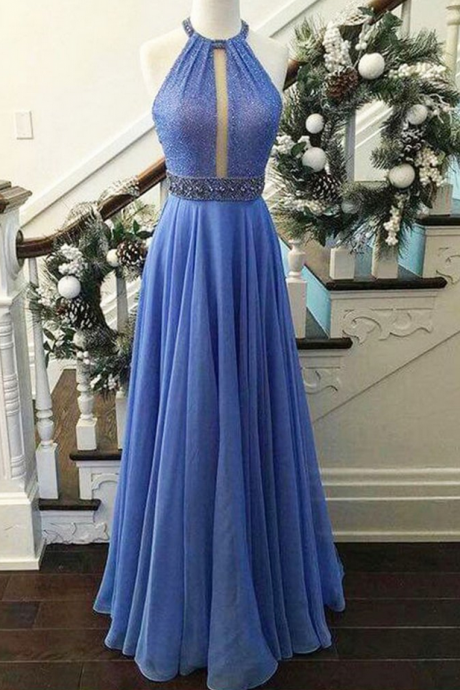 Sky blue chiffon sequins halter long evening dresses,summer dress