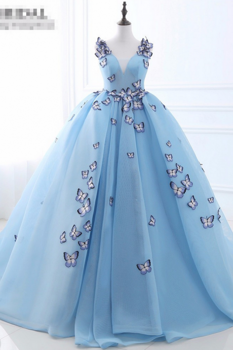 V-neck Blue prom dress With Butterfly Backless ball gown prom dresses Lace Up Princess elegant evening gowns