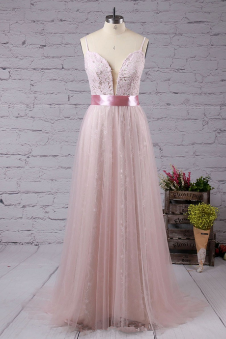 A-line V-neck Lace Tulle Sweep Train with Sashes / Ribbons Prom Dresses