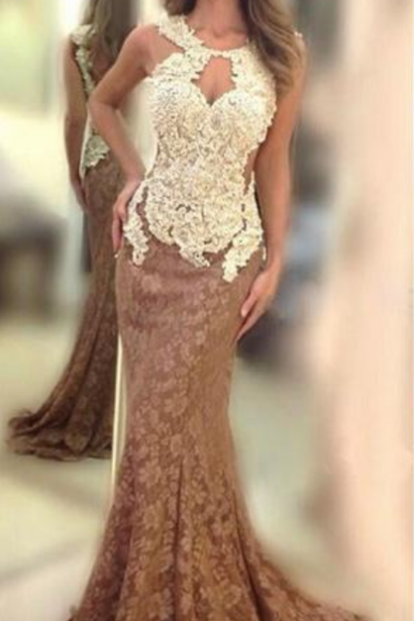 New Arrival sexy Brown Mermaid Open Back Lace Long Prom Dresses