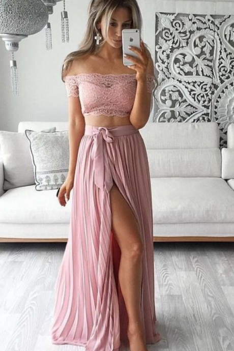 Simple Two Pieces Prom Dress,Off the Shoulder Evening Prom Dress,Side Split Chiffon Party Dress