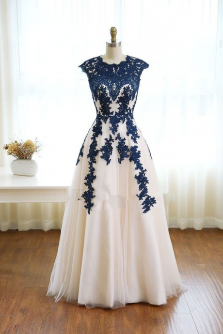 Elehgnt a-line prom dress,jewel tulle lace floor length prom dress,sleeveless evening dress