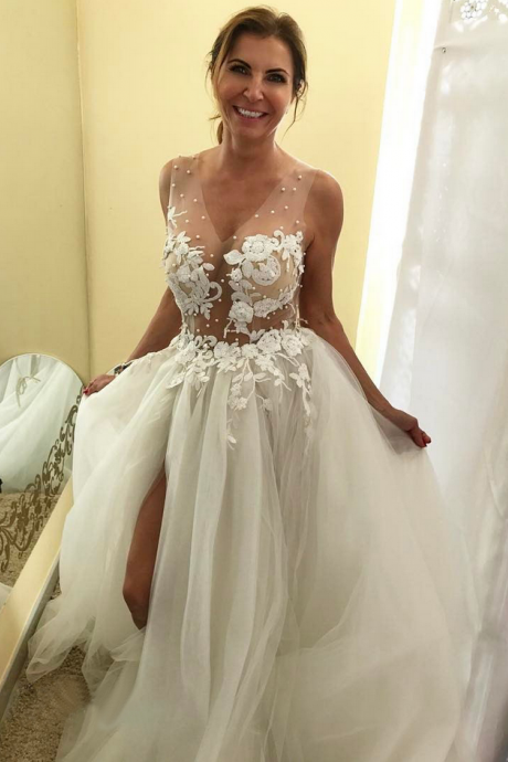 Sexy A-Line Lace Beaded Sheer Corset Puffy Tulle Beach Wedding Dress with Slit Chapel Train Bridal Gowns