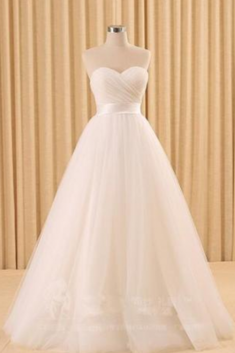 New Simple Wedding Dress WhiteIvory Lace sleeveless A-Line Sweetheart Tulle Sweep/Brush Bridal Gown Size