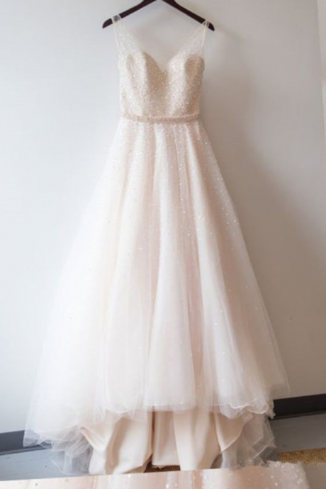 Charming Wedding Dresses,Sexy Wedding Dresses ,Spaghetti Straps Tulle Sequined A-Line Wedding DressesProm Dress, Bridal Gowns