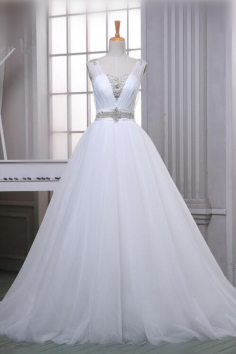 Custom A-Line Soft Tulle Wedding Dresses Top Beaded White/Ivory Simple V-Neck Bridal Gowns With Chapel Train