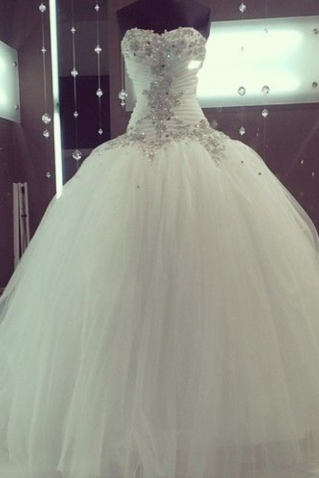 Pretty White/Ivory Open Back Wedding Dresses Ball Gown Sequined Puffy Top Tulle Chapel Train Bridal Gowns Custom