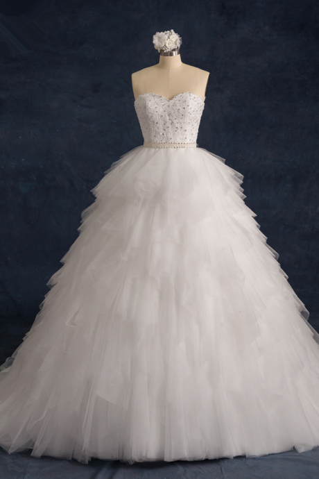 Ruffle Tulle Wedding Gown Featuring Beaded Embellished Sweetheart Bodice and Chapel Train