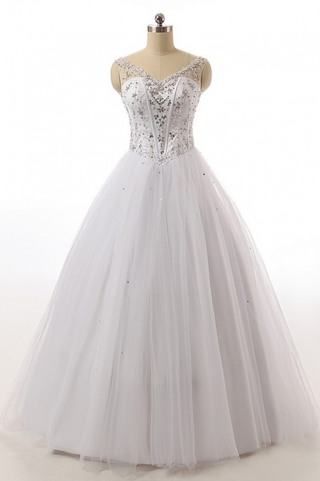 Modest V Neck A Line Wedding Dresses Beaded Lace Princess Tulle Bridal Gowns White/Ivory Custom