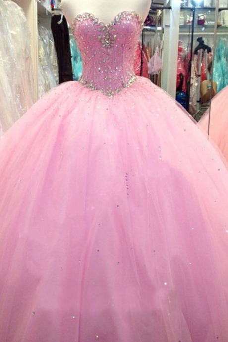 New Arrival Pink Quinceanera Dresses Sweetheart Top Beaded Sequined Ball Gown Princess Long Wedding Guest Prom Dresses