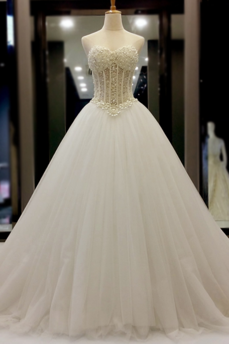 Romantic Ball Gown Wedding Dresses Sweetheart Sheer Pearls Corset Tulle Princess Bridal Gowns Custom