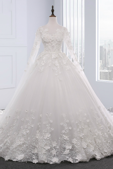 coop white wedding dress with beading Chapel Train ball gown wedding dresses