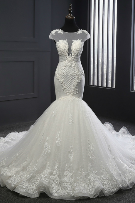Sheer Cap Sleeved Mermaid Wedding Dress With Lace Appliqués and Lace-up Back