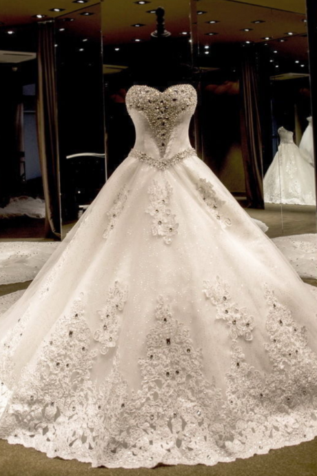 Luxury Crystal Beading Wedding Dress cathedral train Custom Made Bridal Gown