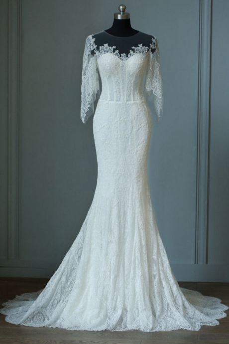Sheer Lace Mermaid Long Wedding Dress with Flares Sleeves and Train