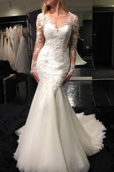Sexy Mermaid Wedding Dress, Lace Wedding Dress, Long Sleeves Wedding Dress