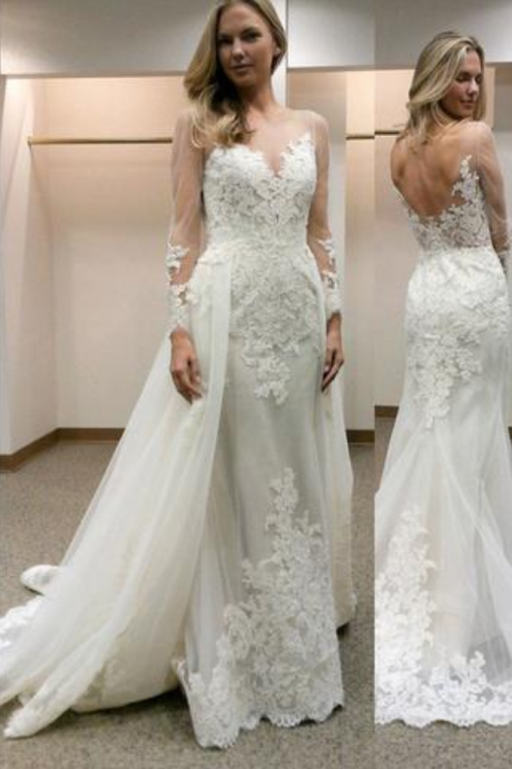 Sheer Lace Appliqués Mermaid Wedding Dress with Long Sleeves and Detachable Train