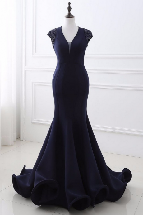 Mermaid Evening Dresses Beading Bare Back New Style Prom Gown Robe de Soiree Formal Special Occasion Gowns
