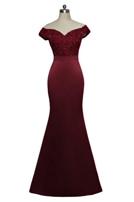 Burgundy Evening Dresses Mermaid V-neck Cap Sleeves Appliques Lace Beaded Women Long Evening Gown Prom Dress Robe De Soiree