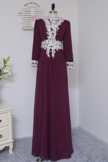 Purple Evening Dresses A-line Long Sleeves Chiffon Lace Elegant Long Evening Gown Prom Dress Prom Gown