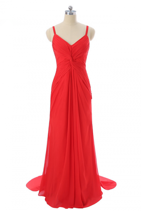 Red Evening Dresses Mermaid Spaghetti Straps Chiffon Beaded Backless Women Long Evening Gown Prom Dresses Robe De Soiree