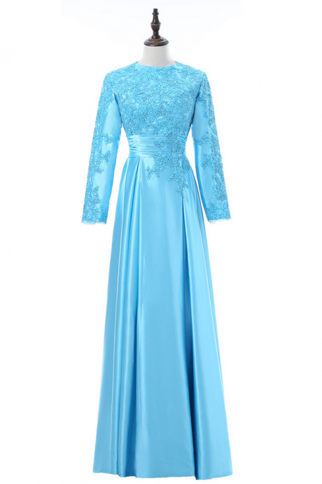 Turquoise Muslim Evening Dresses A-line Long Sleeves Chiffon Lace Islamic Dubai Abaya Kaftan Long Evening Gown Prom Dress