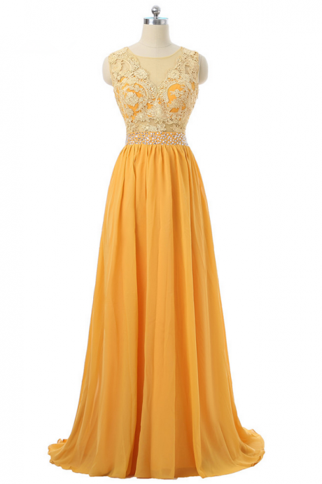Orange Evening Dresses A-line Cap Sleeves Chiffon Lace Beaded Long Evening Gown Prom Dresses Robe De Soiree