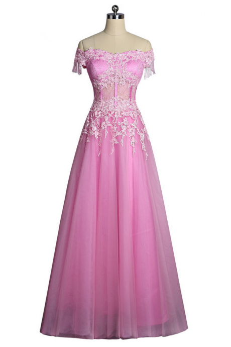 Pink Evening Dresses A-line V-neck Cap Sleeves Tulle Lace Appliques Women Long Evening Gown Prom Dresses Robe De Soiree