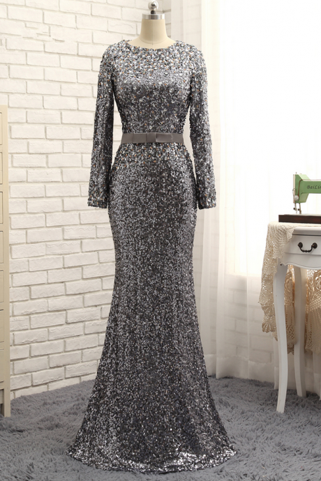 Gray Evening Dresses Mermaid Long Sleeves Crystals Sparkle Long Evening Gown Prom Dress Prom Gown